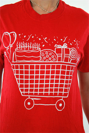 Party shirt Retro graphic tee Vintage 1990s cake food top red short sleeve The party starts here Small Medium - shabbybabe  - 3