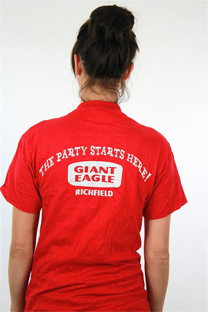 Party shirt Retro graphic tee Vintage 1990s cake food top red short sleeve The party starts here Small Medium - shabbybabe  - 4