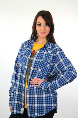 90s grunge blue white flannel shirt checkered lumberjack Medium - shabbybabe  - 3