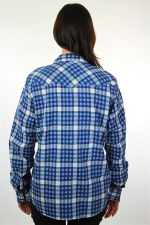 90s grunge blue white flannel shirt checkered lumberjack Medium - shabbybabe  - 4