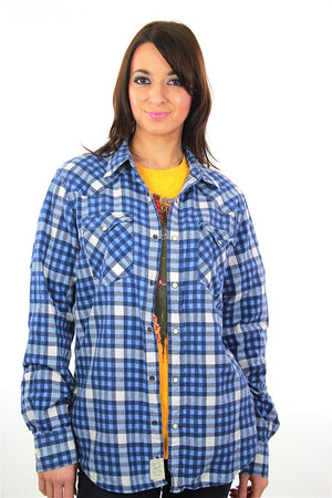 90s grunge blue white flannel shirt checkered lumberjack Medium - shabbybabe  - 1