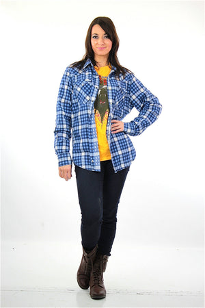 90s grunge blue white flannel shirt checkered lumberjack Medium - shabbybabe  - 5