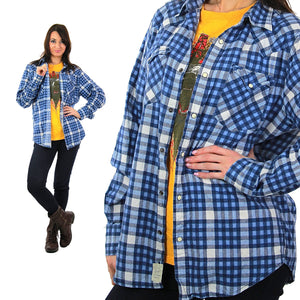 90s grunge blue white flannel shirt checkered lumberjack Medium - shabbybabe  - 2