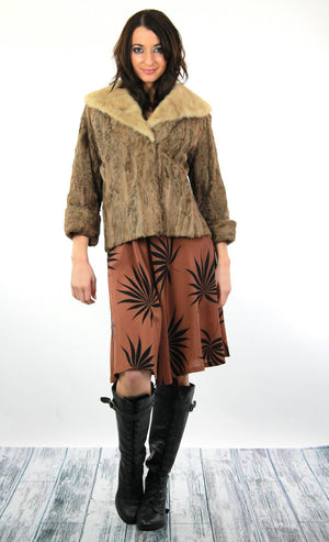 60s retro Mink fur jacket Lamb cocktail coat Bohemian - shabbybabe  - 3