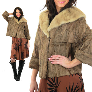 60s retro Mink fur jacket Lamb cocktail coat Bohemian - shabbybabe  - 2
