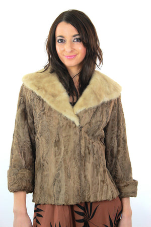 60s retro Mink fur jacket Lamb cocktail coat Bohemian - shabbybabe  - 1