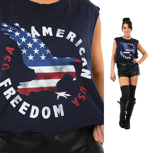 USA shirt American tee graphic eagle red white blue t-shirt sleeveless oversized unisex patriotic top Extra Large - shabbybabe  - 1