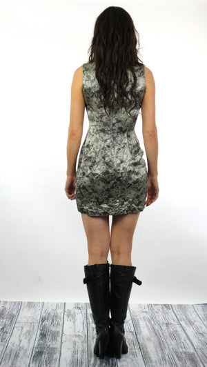 90s Grunge metallic silver lace print floral mini dress - shabbybabe  - 4