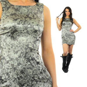 90s Grunge metallic silver lace print floral mini dress - shabbybabe  - 2