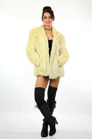 80s Glam rock white fur jacket rabbit fur chub coat - shabbybabe  - 3