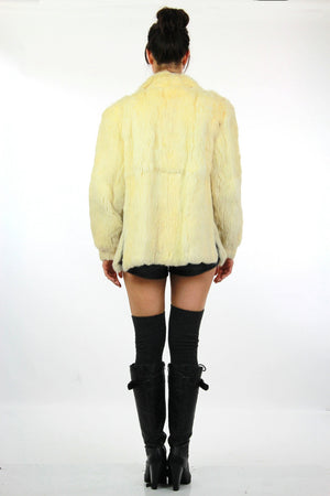 80s Glam rock white fur jacket rabbit fur chub coat - shabbybabe  - 4