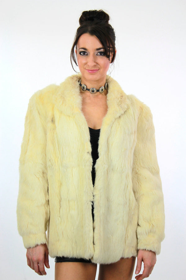 80s Glam rock white fur jacket rabbit fur chub coat - shabbybabe  - 1
