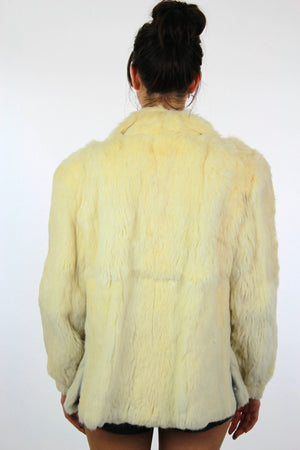 80s Glam rock white fur jacket rabbit fur chub coat - shabbybabe  - 5