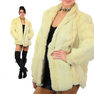 80s Glam rock white fur jacket rabbit fur chub coat - shabbybabe  - 2