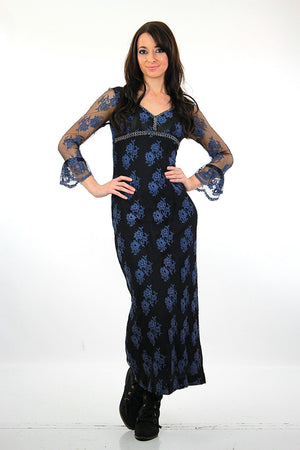 Lace maxi dress Navy Blue floral Vintage 1990s grunge goth long sleeve scoop neck longCocktail evening gown - shabbybabe  - 2