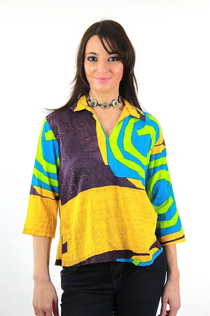 Color block shirt Vintage 1980s abstract new wave Neon yellow Geometric  top - shabbybabe  - 1