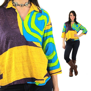 Color block shirt Vintage 1980s abstract new wave Neon yellow Geometric  top - shabbybabe  - 3