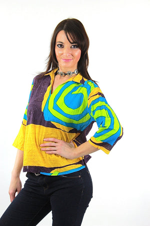 Color block shirt Vintage 1980s abstract new wave Neon yellow Geometric  top - shabbybabe  - 2