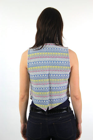 Tribal Vest blue yellow pastel striped Vintage 1970s sleeveless button down Deep V plunging top Festival Medium - shabbybabe  - 4
