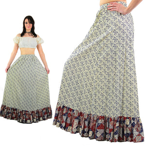 Floral maxi skirt Vintage 1970s patchwork floral festival Hippie Tiered ruffle full long skirt High waisted retro mod Medium - shabbybabe  - 3