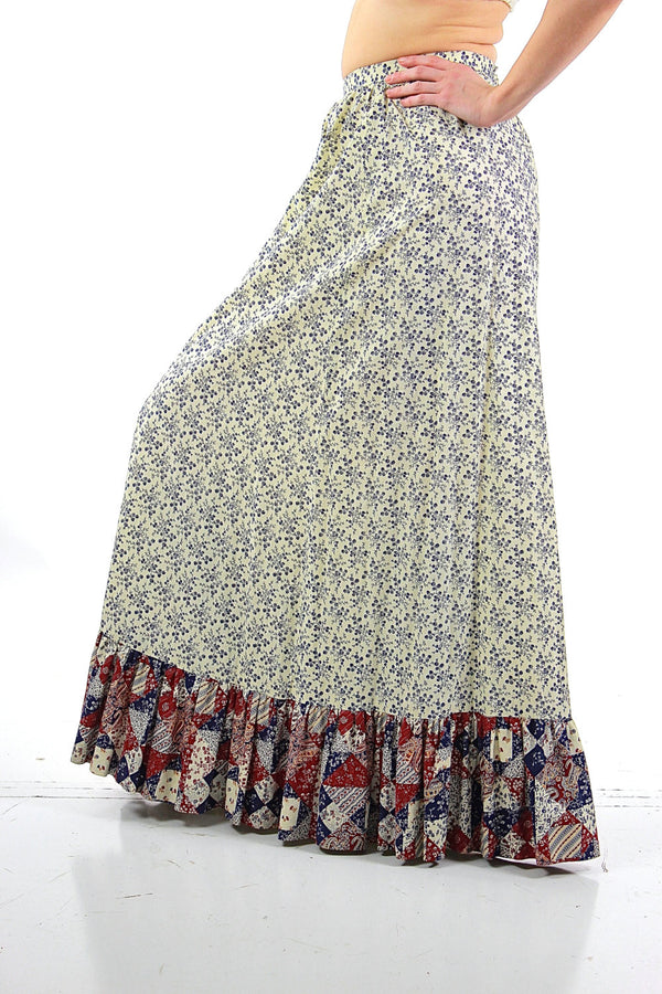 Floral maxi skirt Vintage 1970s patchwork floral festival Hippie Tiered ruffle full long skirt High waisted retro mod Medium - shabbybabe  - 1