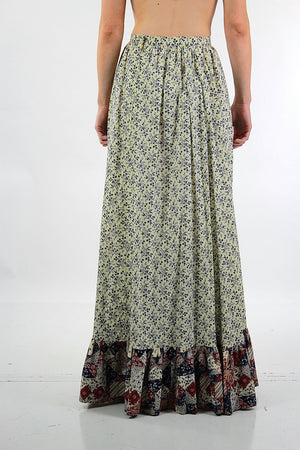 Floral maxi skirt Vintage 1970s patchwork floral festival Hippie Tiered ruffle full long skirt High waisted retro mod Medium - shabbybabe  - 5