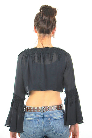 Sheer lace top Vintage 1990s grunge goth cropped blouse angel sleeve Hippie boho Festival gothic shirt Medium - shabbybabe  - 4