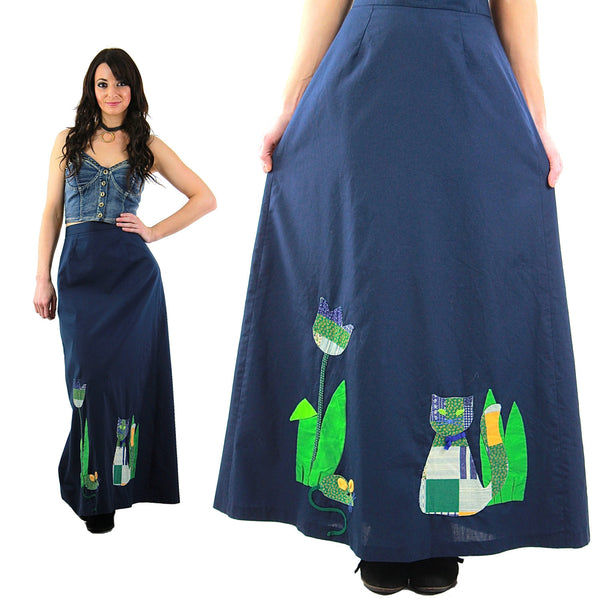 Patchwork maxi skirt Vintage 1970s navy blue boho Festival appliqu̩ cat animal skirt Full floral retro Medium - shabbybabe  - 1