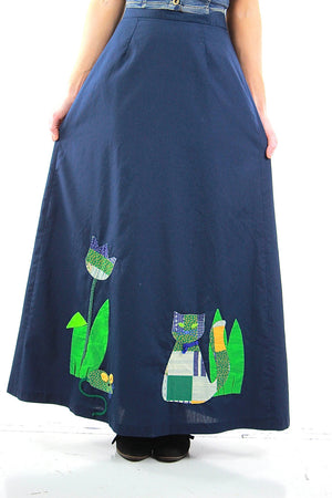 Patchwork maxi skirt Vintage 1970s navy blue boho Festival appliqu̩ cat animal skirt Full floral retro Medium - shabbybabe  - 2