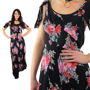 90s grunge goth bohemian sheer black floral maxi dress - shabbybabe  - 2
