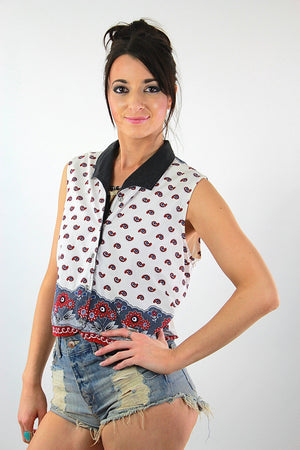Boho patchwork open back sleeveless blouse crop top - shabbybabe  - 3