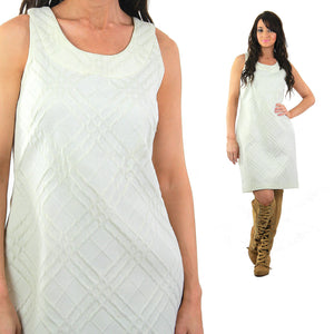 Vintage 80s white mod dress wiggle shift sleeveless party cocktail bridal scoop neck Retro chic Large - shabbybabe  - 1