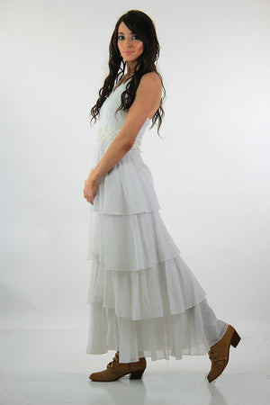Vintage 70s Boho Bridal dress tiered white halter open back sheer beach wedding dress V neckline Medium - shabbybabe  - 3