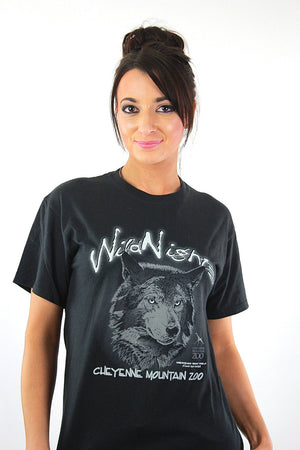 Wolf t-shirt Black graphic Wild nights tee Vintage 90s grunge goth animal print oversize retro hipster top Small - shabbybabe  - 2