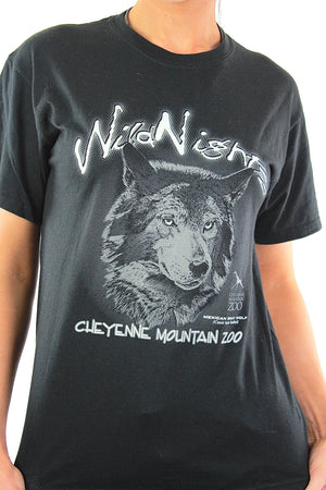 Wolf t-shirt Black graphic Wild nights tee Vintage 90s grunge goth animal print oversize retro hipster top Small - shabbybabe  - 4