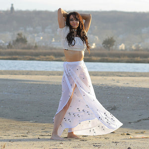Boho wrap skirt Embroidered white sheer beach cover