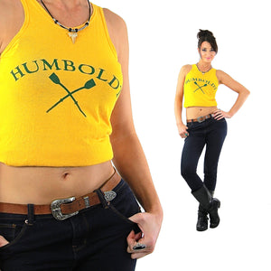 Sports shirt Graphic Humboldt racer back tank top Vintage 1970s Cropped top sleeveless tee Retro Mod Jersey Small - shabbybabe  - 1
