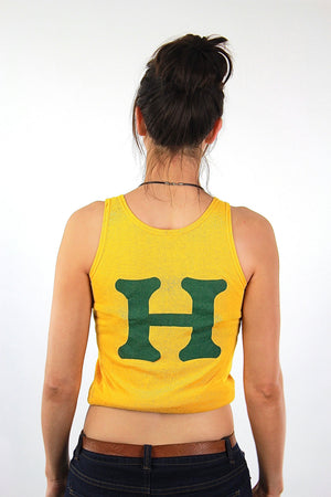Sports shirt Graphic Humboldt racer back tank top Vintage 1970s Cropped top sleeveless tee Retro Mod Jersey Small - shabbybabe  - 4