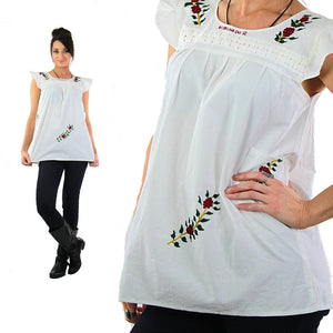 Embroidered tunic top Vintage 1970s white sleeveless babydoll shirt Hippie Bohemian Festival slouchy Size 10 - shabbybabe  - 2
