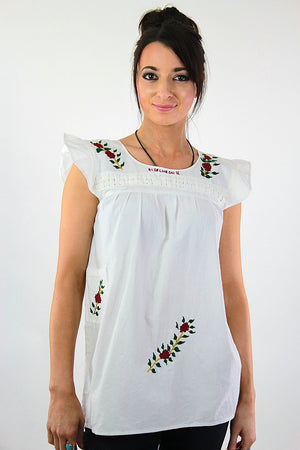 Embroidered tunic top Vintage 1970s white sleeveless babydoll shirt Hippie Bohemian Festival slouchy Size 10 - shabbybabe  - 3