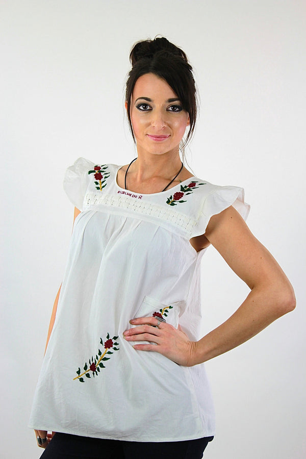 Embroidered tunic top Vintage 1970s white sleeveless babydoll shirt Hippie Bohemian Festival slouchy Size 10 - shabbybabe  - 1