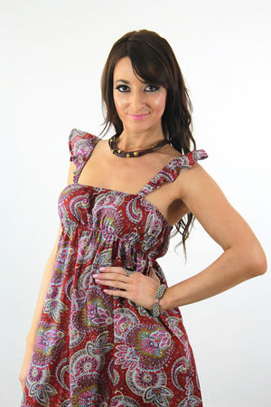 Boho Red Paisley India cotton festival beach sun dress - shabbybabe  - 5