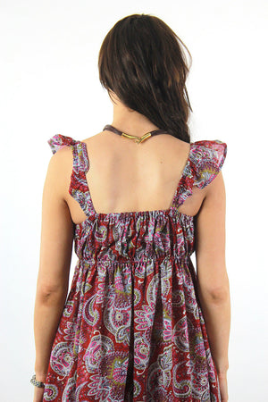 Boho Red Paisley India cotton festival beach sun dress - shabbybabe  - 6