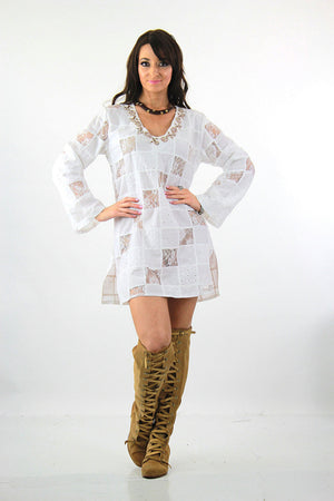 White lace patchwork angel sleeve beach cover tunic top dress - shabbybabe  - 5