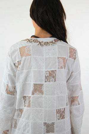 White lace patchwork angel sleeve beach cover tunic top dress - shabbybabe  - 7
