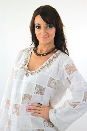 White lace patchwork angel sleeve beach cover tunic top dress - shabbybabe  - 6