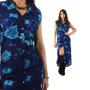 Grunge Blue tropical floral Dress sleeveless Button down Plus size - shabbybabe  - 2