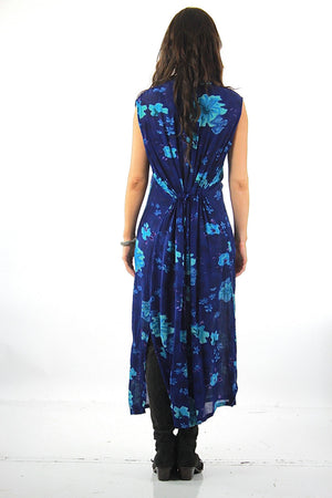 Grunge Blue tropical floral Dress sleeveless Button down Plus size - shabbybabe  - 3
