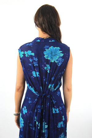 Grunge Blue tropical floral Dress sleeveless Button down Plus size - shabbybabe  - 5