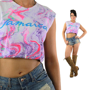 Jamaica shirt Vintage 1980s Pink Purple ombre tank top Abstract Tie Dye neon sleeveless graphic cropped tee Large - shabbybabe  - 1